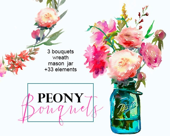 Floral Clipart Peonies Mason Jar Art Watercolor Pre-made ...