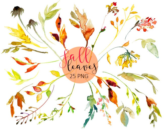 Fall Leaves and Wreath Autumn Clipart PNG Watercolor ...