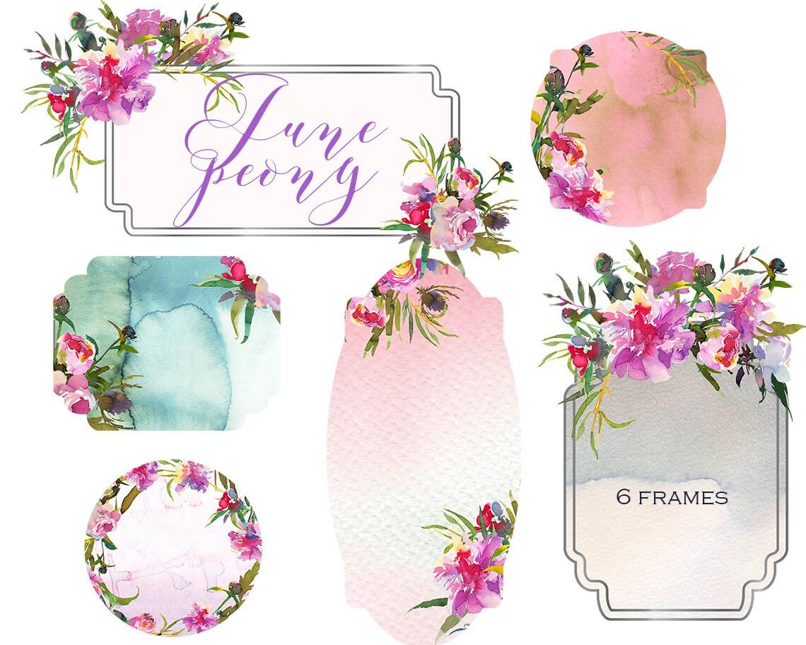 Embellished Clipart Frames Pastel Floral Golden Shabby Chic | Etsy
