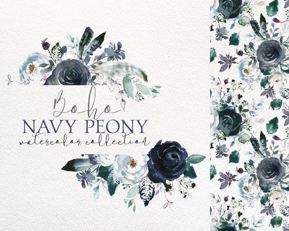 Boho chic navy blue white peonies roses watercolor floral etsy image 0 mightylinksfo