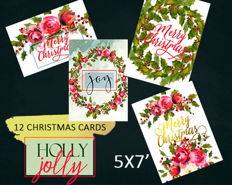 Printable Christmas Cards with Watercolor florals and Holly Steams Set of 12 5x7/' Printables Wall Decor Art