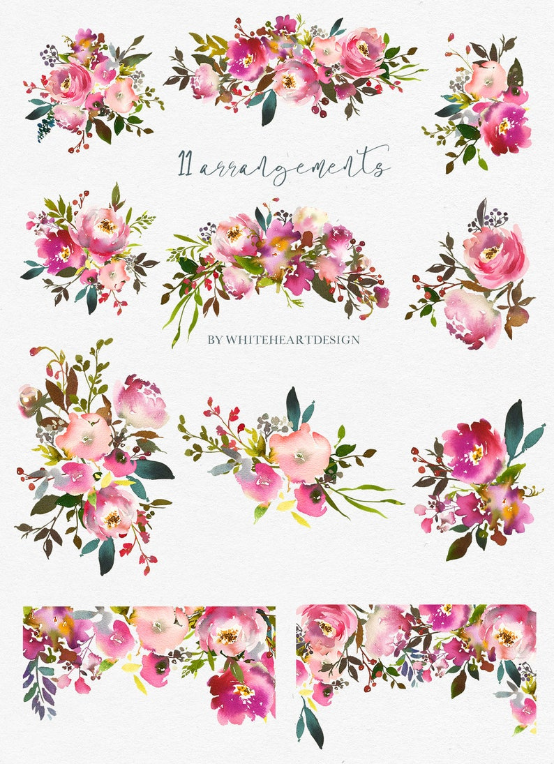 Pink Peach Flowers Peonies Roses Watercolor Clipart