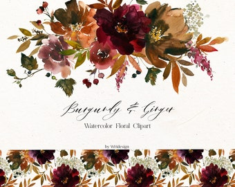 Fall Clipart Watercolor Floral Clipart Fall Brown Burgundy Flower Bouquet Fall Wreath PNG Seamless Pattern Marsala Flowers Decoupage