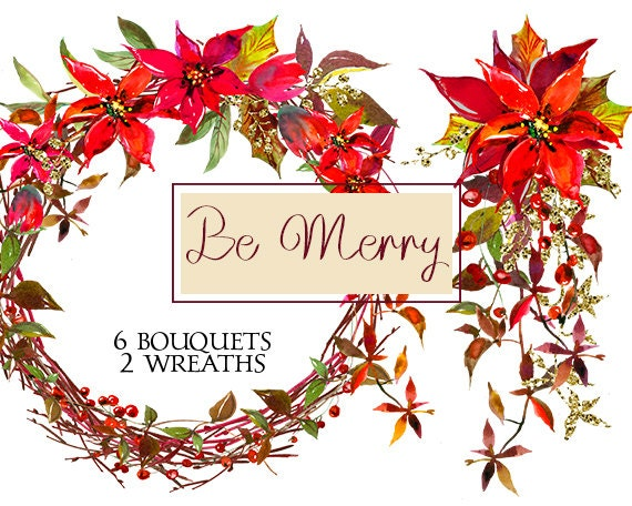 Christmas Invitation Background Png.Christmas Watercolor Clipart Poinsettia Red Flowers Bouquets Digital Floral Berry Wreaths Wedding Invitation Transparent Background Png
