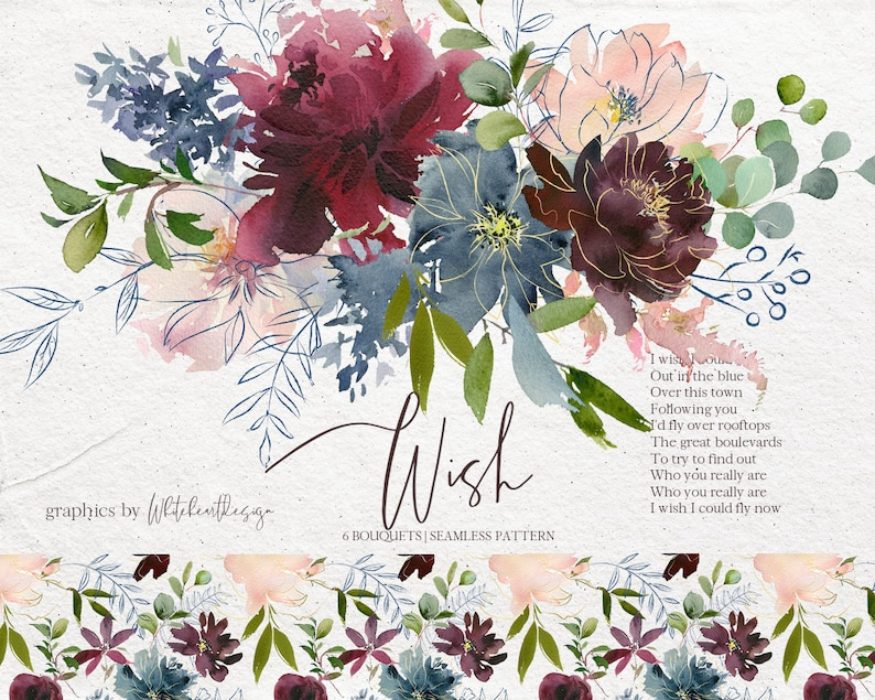 Wish Bordo & Navy Watercolor Floral Clipart Burgundy Red Pink Dusty Blue  Flowers PNG Bouquets Wedding Clip Art Wine Colors Indigo Pattern