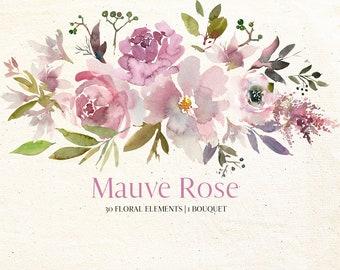 Mauve Rose Watercolor Floral Elements Bouquet Clipart PNG Seamless Pattern Hand Painted Graphics Bundle Nursery Decor Art Printable Planner