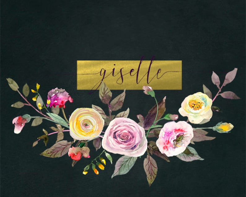 Watercolor Flowers Digital Clipart PNG  Pastelle Bouquets Yellow Purple Pink Peonies Roses Floral Wedding Clip Art Set Invitation Logo