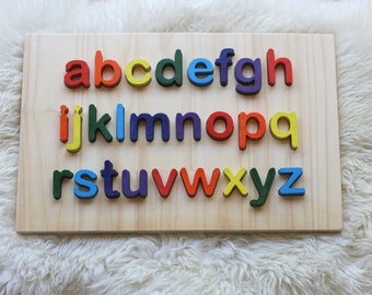 Lowercase Wooden Alphabet Letters puzzle Tracing letter board Waldorf Montessori toy stacking toy Preschool learning Handmade gift Eco toy