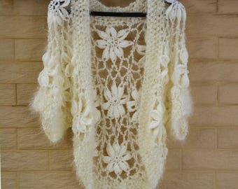 Short Sleeve Open Crochet Sweater Cardigan