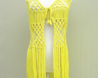 0a587643b2ab8 Fringe Crochet Vest Beach Cover Up Music Festival Top