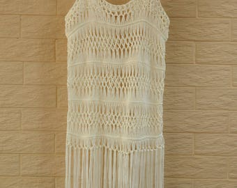 c086bf46e7289 Hippie Fringe Crochet Vest Music Festival Top Beach Cover Up