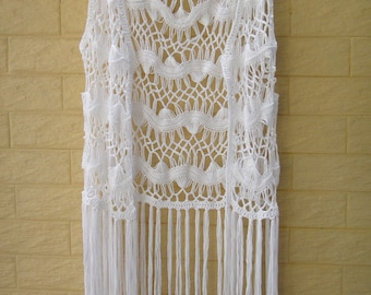 f87f580026d00 Crochet Vest Fringe Beach Cover Up Music Festival Top
