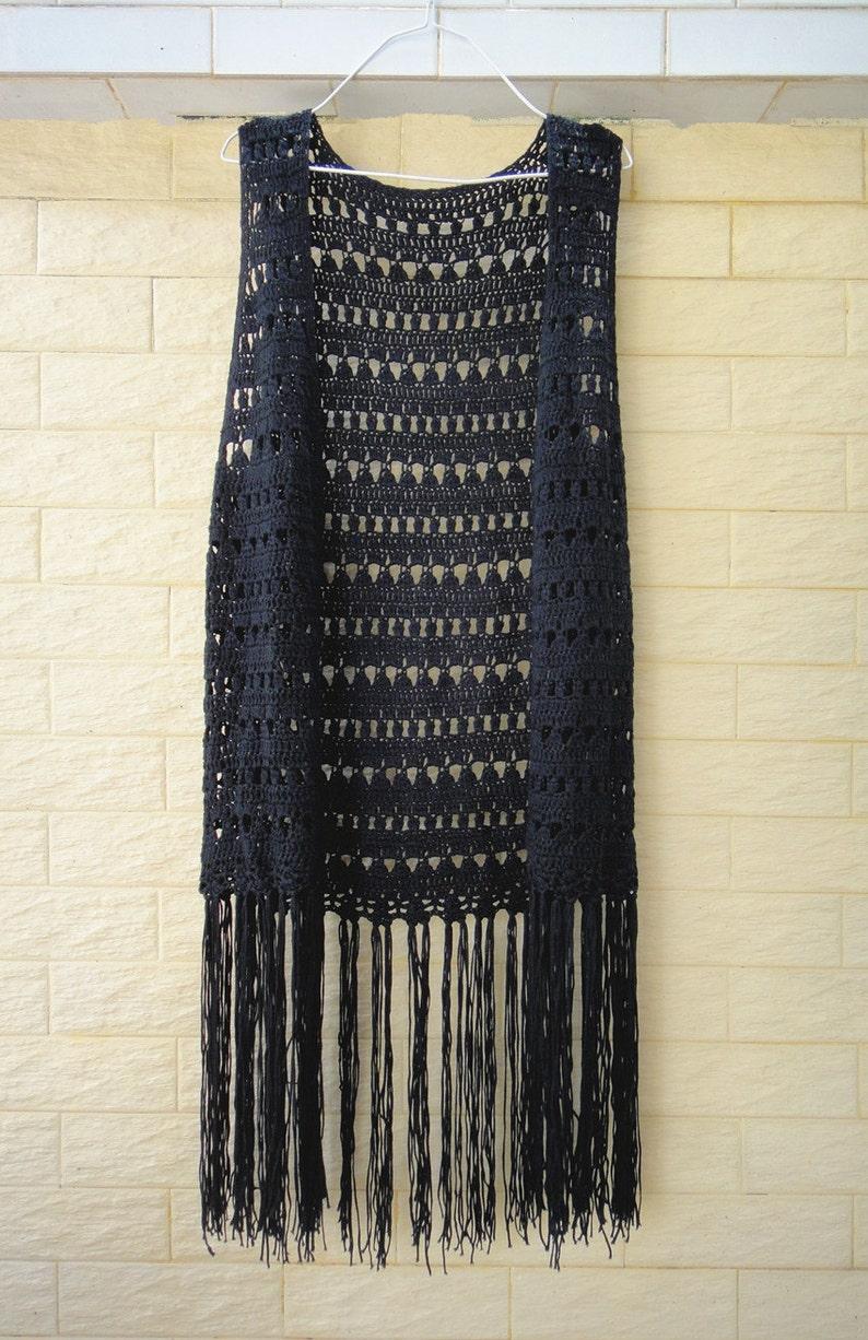 Largo negro con flecos Crochet chaleco Top Festival  88fa822550f6