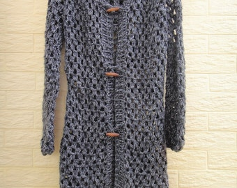 Boho Long Hooded Crochet Sweater Cardigan Button Down