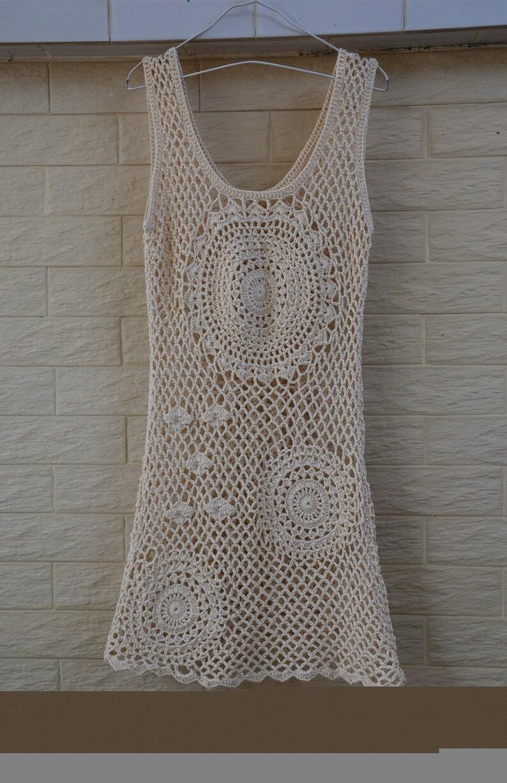 c7cffcdd1e0ee Boho Crochet Dress Summer Beach Cover Up Dress | Etsy