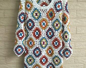 Crochet Granny Square Dress Long Sleeves