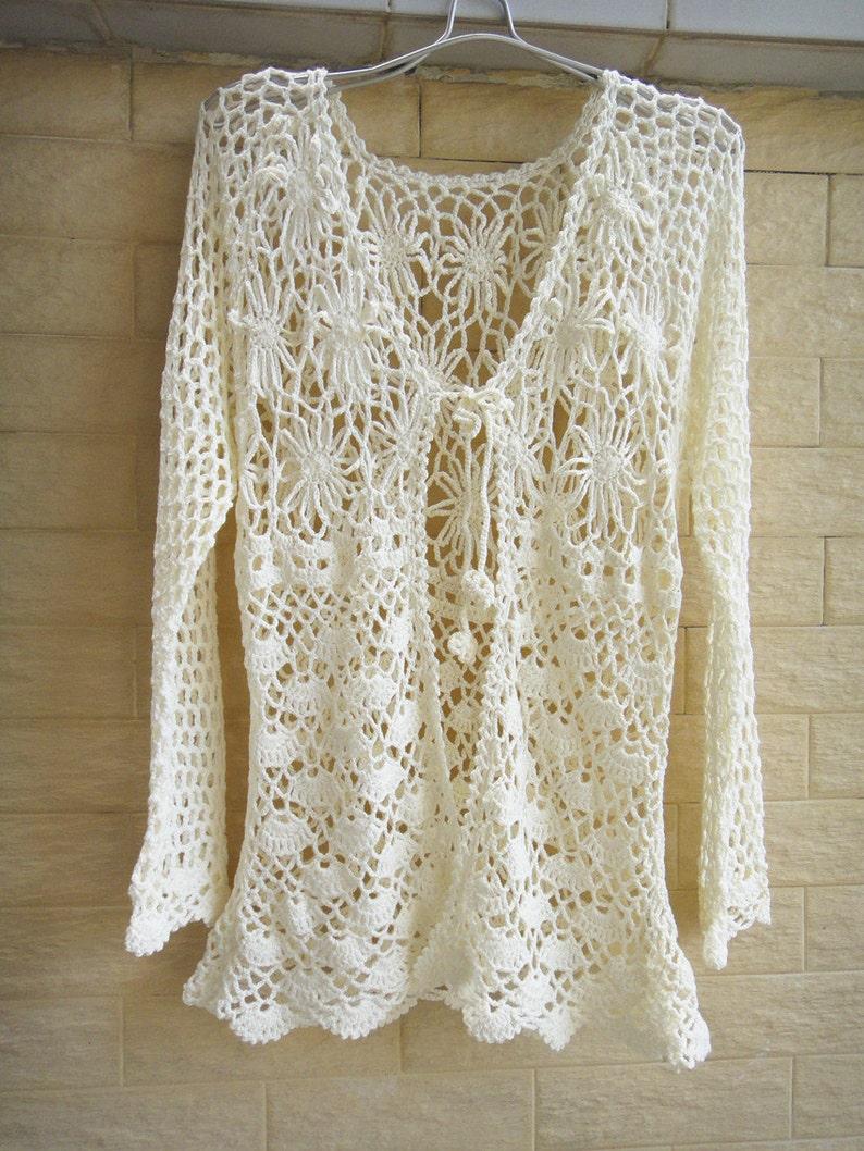 Tie Front Crochet Cardigan Long Sleeve Women Blouse Etsy