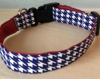 Navy & Red Houndstooth Dog Collar