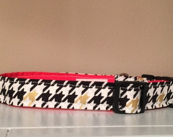 Black, Gold, and Red Houndstooth Dog Pet Collar