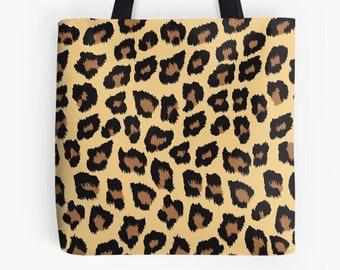 Tote Bag Beach Animal Print Tote Gold or Silver Metallic Print Rope Handle