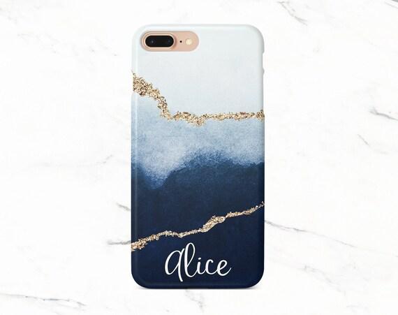Personalized Phone Case Gold Iphone X Case Iphone Xr Case Galaxy S8 Case Custom Phone Case Blue Iphone Xs Max Case Google Pixel Case