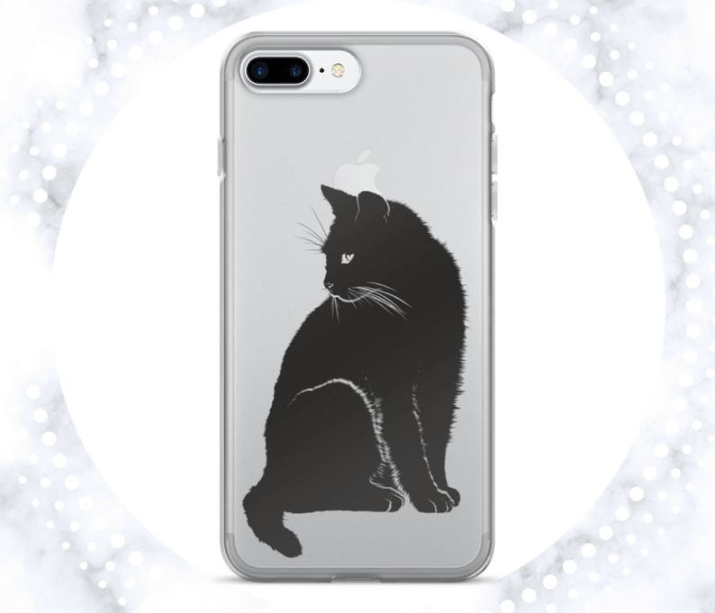 online store 95c4f 6cb58 Black Cat iPhone Case | Cute Phone Case | Clear iPhone 5S Case | Kitty |  Cat Lovers | Chic Phone Case | iPhone 7 | Clear iPhone 6 Case