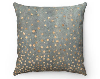 Rose Gold Dots on Scratched Gray Pillow Cases | Rose Gold Throw Pillow Covers | Boho Accent Pillows | Decorative Pillows | Grey Pillow Cases
