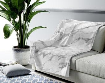 Gray Marble Blanket   custom personalization, multiple styles and sizes   sherpa fleece or velveteen plush blankets