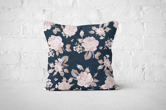 Pink Roses on Navy Pillow Cases Throw
