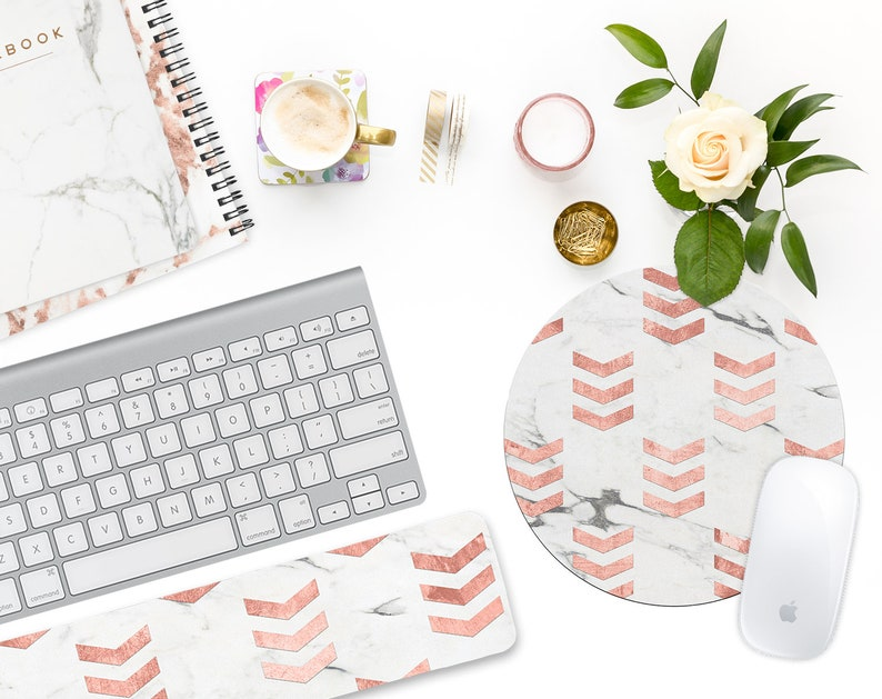 Chevron Marble Mousepad Round Mouse Pad Rose Gold Office Etsy