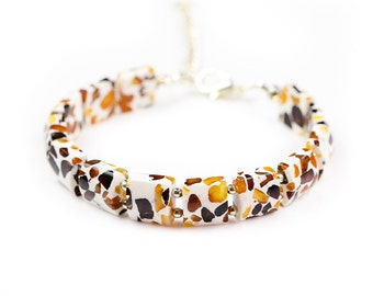 Natural Baltic amber bracelet from crushed amber beads mixed into resin Crushed amber bead bracelet