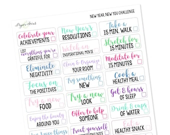 New Year, New You 30-Day Challenge - Planner Stickers