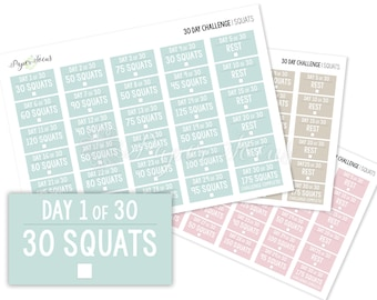 30-Day Challenge - Squats - Fitness Planner Stickers