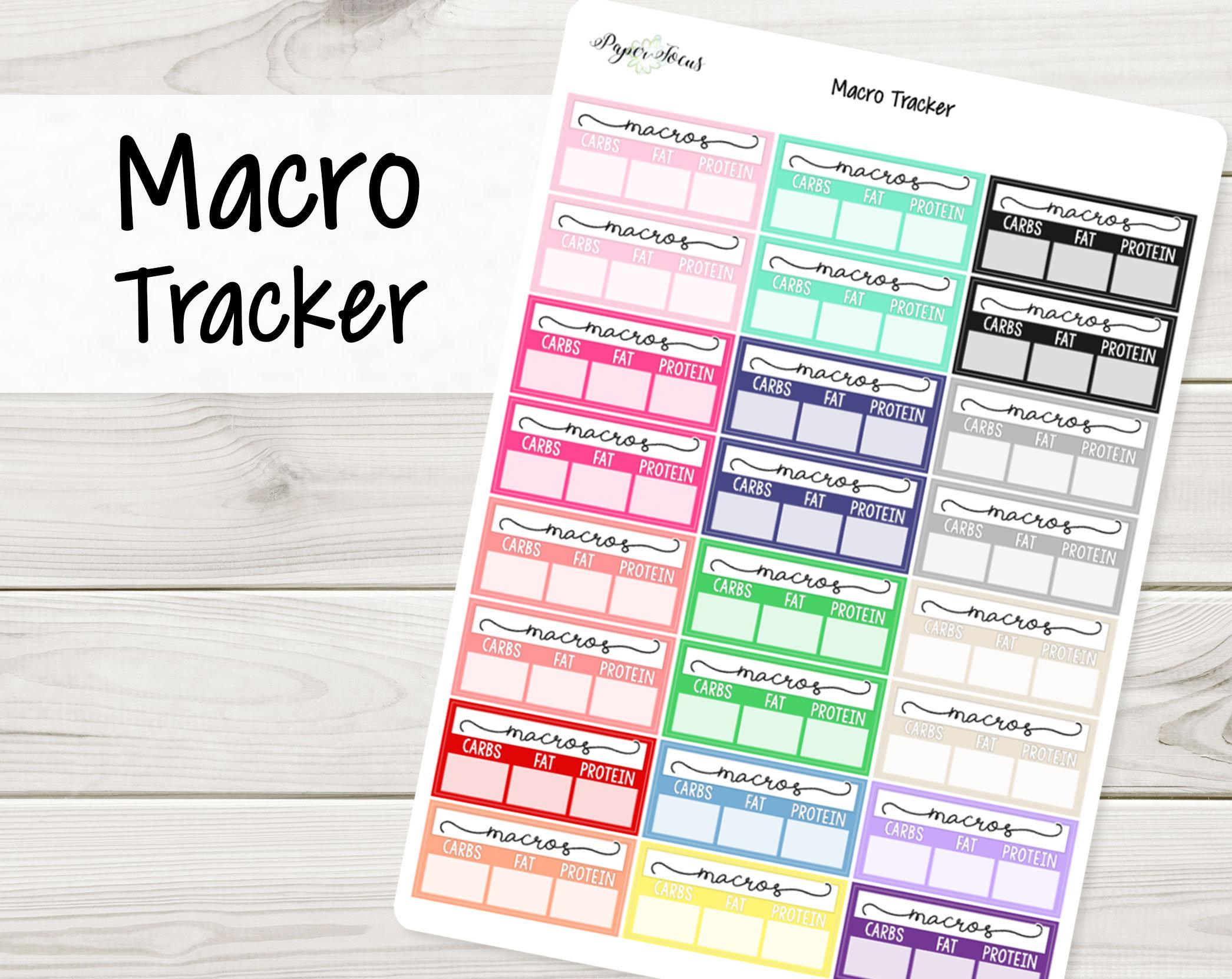 macro tracker multicolor planner stickers macro counter etsy