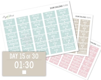 30-Day Challenge - Plank - Fitness Planner Stickers