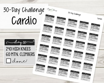 Cardio 30-Day Challenge - Planner Stickers, Stickers, Fitness Stickers, Cardio Stickers