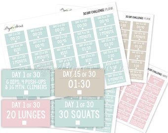 30-Day Challenge Stickers - Strength Bundle - Squats, Lunges, Plank, Arms