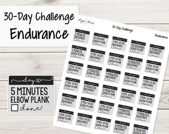 Endurance 30-Day Challenge - Planner Stickers, Stickers, Fitness Stickers