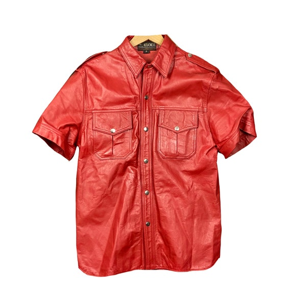 Vintage Kookie Red Leather Men's Button Down Shirt