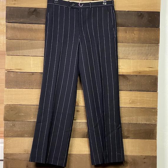 Vintage 70s Men's Pleated Blue Flat Front Trouser