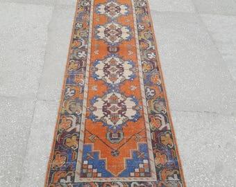 "2'9"" x 10'2"" Feet Vintage Oushak Rug Runner Hallway Rug Area Rug Vintage Turkish Rug Runner Handmade Wool Rug Aztec Rug Free Shipping !"
