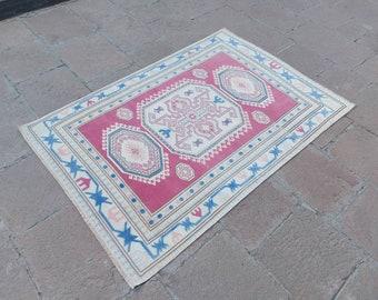 "4'5"" x 6'6"" ft Vintage Turkish Rug, Handmade Low Pile Wool Oushak Rug, Vintage Bohemian Rug, Nursery Rug, Kitchen Rug, Anatolian Rug, Rugs !"