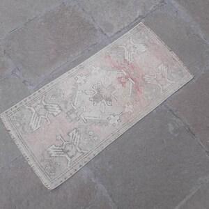 Turkish small rug Oushak doormat rug.Turkish vintage bathroom rug 3/'6\u00d71/'6 ft red mat rug.Red doormat rug.Low Pile distressed bathroom rug