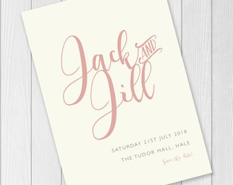 Pink / Ivory / White / Rose / Calligraphy Name / Save the Date Wedding Invite / Print or Digital Download