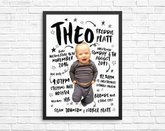 Personalised Baby Portrait / Nursery Print