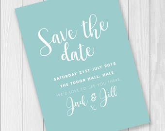Turquoise / Blue / Cadet / Aqua / Save the Date Wedding Invite / Print or Digital Download