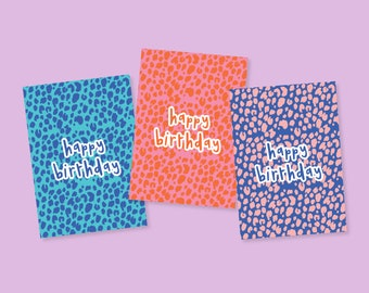 Leopard Print Pattern Colourful Multipack 3 Plain Birthday Cards