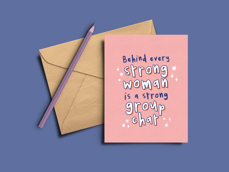 Strong woman / Strong Group chat A6 Postcard or A5 Greeting image 0