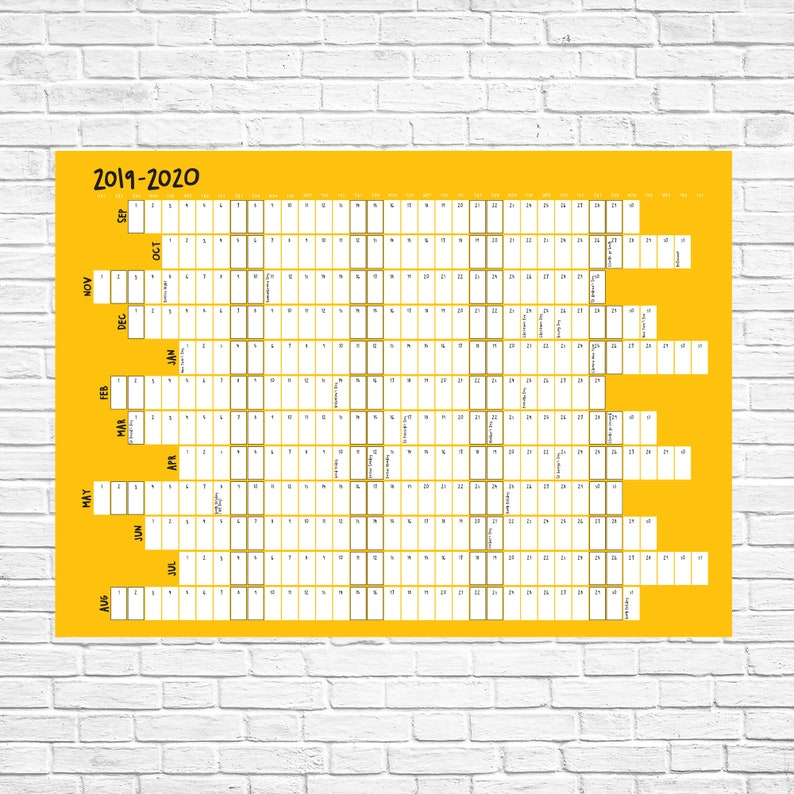 2019/2020/2021 Wall Calendar Academic Year Planner / image 0