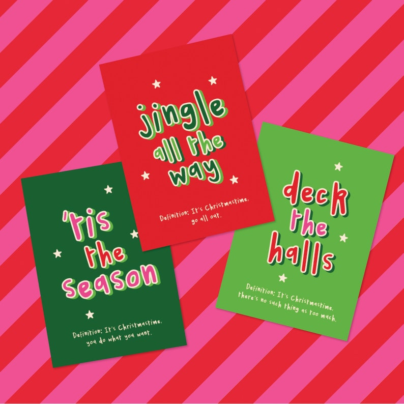 Set of 6 Typography Bright Funny Friend A6 Christmas Greeting image 0